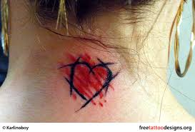 Heart Tattoo On The Back Of A Womans Neck