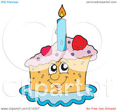 Royalty Free RF Clipart Illustration of a Happy Birthday Cake Slice by visekart