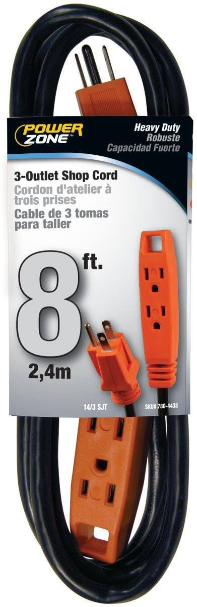 Power Zone Extension Cord - 14/3 x 8', 3 Outlet