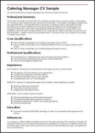Catering Manager CV Sample