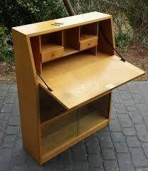 oak writing bureau furniture 1950 s vintage golden oak writing bureau bookcase sliding doors