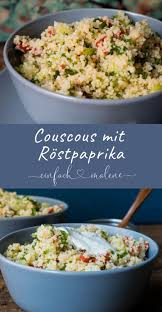 bunter couscous salat mit röstpaprika und lakosefreiem kräuter dip