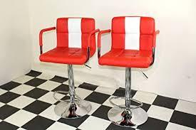 american diner stil der 50er jahre retro bar hocker stühlen mit armlehne rot x 2