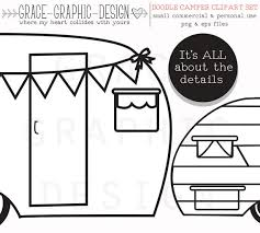 CAMPER VECTOR Original Hand Drawn Clipart Pack This Digital Includes Illustrated Retro Campers