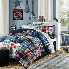 Modern Teen Bedding Boys forter Set Blue Red Green Yellow Plaid