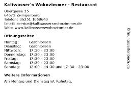 ᐅ öffnungszeiten kaltwasser s wohnzimmer restaurant
