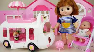 Picnic BUS And Baby Doll Ice Cream Truck Car Toys Play - YouTube