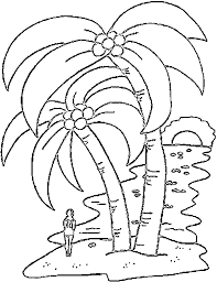 Palm Tree Coloring Pages At Beach Sunset