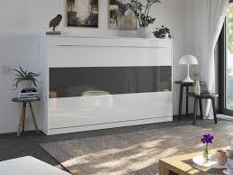 smartbett schrankbett standard 120x200 horizontal weiss hochglanz weiss anthrazit hochglanz mit gasdruckfedern