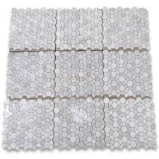 carrara white 1 1 2 inch hexagon sunflower mosaic tile honed