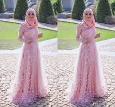 2017 new design muslim arabic evening dresses pink high neck a