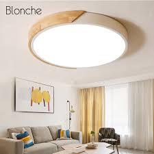 100 Wooden Ceiling US 4499 29 OFFModern LED Light Lamp Home Decor Light Fixtures For Living Room Bedroom Aisle Round Simple Luminaire 220Vin