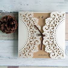 Classic Rustic Laser Cut Wedding Invitation With Suede Ribbon IWSM026