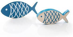 2 stück bemalte blaue holz fische paar 13 x 6 cm 10 x 5 cm jeweils 1 5 cm stark zum hinstellen deko fisch zierfisch als hübsche maritime
