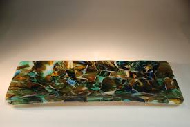 Perfect Designing Slumped Glass Wall Art Serving Platter Artistic Adventures In Paradise Fused Mosaic Recycled Blown