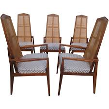 5 Walnut Foster And McDavid Cane Back Dining Chairs Mid Century Modern For Sale At 1stdibs