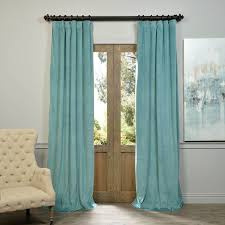105 Inch Blackout Curtains by Signature Aqua Mist Blackout Velvet Curtains Drapes