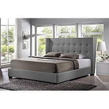 Amazon Upholstered King Headboard by Amazon Com Baxton Studio Favela Linen Modern Bed With Upholstered