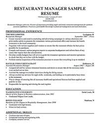 Restaurant Manager Resume Sample Flexible Depiction Example With Throughout