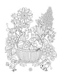 Printable Adult Coloring Page Easter Basket