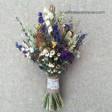 Purple Dried Flower Wedding Bouquet