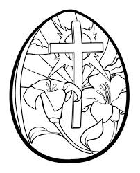 Lilies And Cross Easter Egg Coloring Page