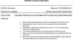 Automotive Resume Template Cv Sample