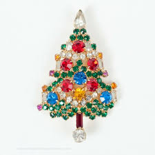 Vintage Weiss Christmas Tree Pin With Candles And Prong Set Rhinestones The Chicago Clothing