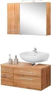 held möbel badmöbel set davos 3 tlg spiegelschrank mit led beleuchtung hängeschrank und waschbeckenunterschrank braun bad sparsets badmöbel