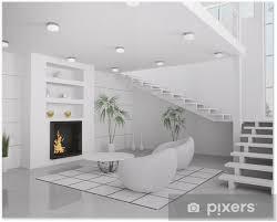 weisses wohnzimmer mit kamin interior 3d render poster