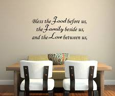 BLESS THE FOOD BEFORE US HOME VINYL WALL QUOTE DECOR DECAL KITCHEN DINING JR158