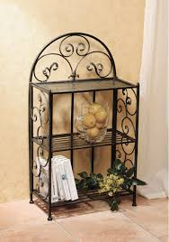 Furniture Black Wrought Iron Shelf On Ceramics Flooring Plus Cream Bathroom Wall Awesome