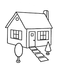 Plush House Coloring Page Sketch In Houses