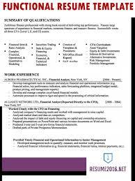 Functional Resume Sample 2016 In
