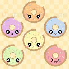Kawaii Donuts Cute Digital Clipart Donut Graphics