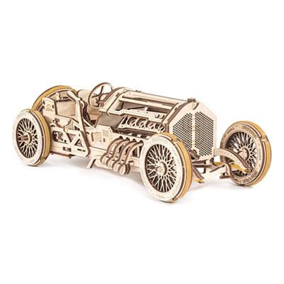 Ugears U-9 Grand Prix Car Mechanical Wooden 3D Puzzle Model Kit