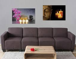 2x led bild leinwandbild leuchtbild wandbild 60x40cm timer buddha flackernd