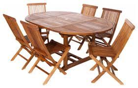 7 Piece Set Teak Oval Extension Table Folding Chair Set