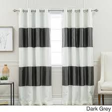 aurora home striped dupioni grommet top blackout curtain panel