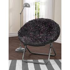 your zone spiker faux fur saucer chair multiple colors walmart com