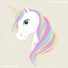 White Unicorn Vector Head With Mane And Horn On Starry Background Poster