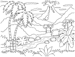 Nature Island Coloring Pages