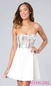 short white lace top party dress promgirl