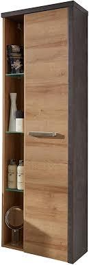 trendteam smart living badezimmer badhochschrank hängend bay eiche riviera honig 48 x 160 x 31 cm in beton dunkel