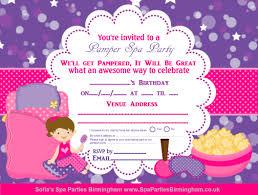 Spa Party Invitations Designs