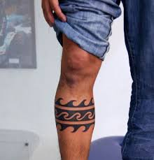 Band Ocean Waves Male Tribal Tattoos On Legs