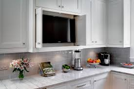 light grey subway tile kitchen traditional with concealed tv