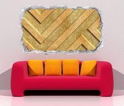 3d wandtattoo durchbruch 3d effekt gold metall muster hintergrund textur wand aufkleber wanddurchbruch sticker selbstklebend wandbild wandsticker