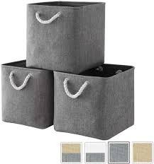 aufbewahrungsbox stoff aufbewahrungskorb grau korbe stoff in würfel 33x33x33 cm für schrank 3er pack