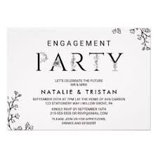 Floral Typography Engagement Party Card